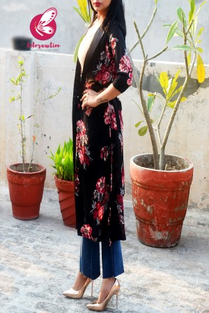 Black Printed Georgette Floral Long Shrug
