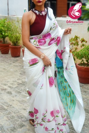 White Hand-painted Silk Crepe White Satin Taping Saree with Maroon Crepe Handwork Blouse Piece