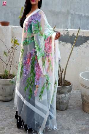 White Organza Handpainted Multicolor Floral Stole
