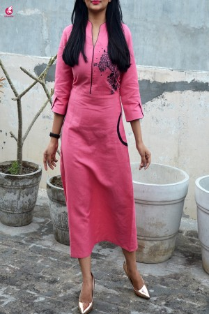 Carrot-red Embroidered A-Line Kurti Dress