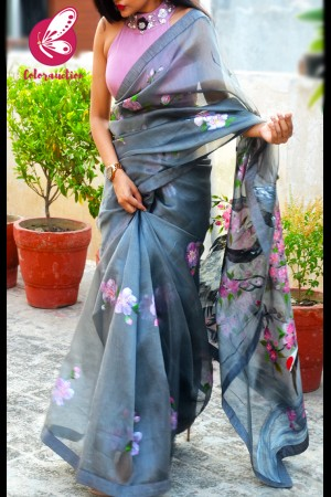 Grey Hand-painted Crane Pure Organza Saree