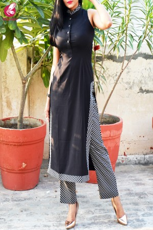 Black & White Printed Crepe Kurti with Printed Crepe Palazzo Pant