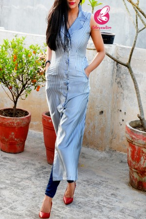 White & Navy Blue Satin A-Line Stripes Kurti