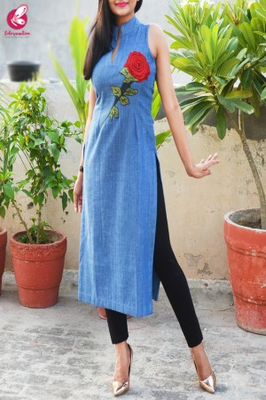 Blue Denim Patch Work Straight Fit Kurti