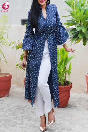 Navy Blue Printed Denim Front Slit Kurti
