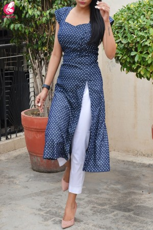 Printed Navy Blue Denim Front Slit Kurti with White Cotton Silk Pants