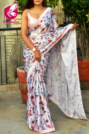 Multicolored Printed Satin Floral Saree