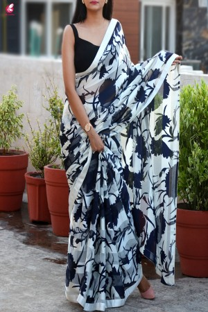 Blue & White Printed Crepe Satin Taping Saree