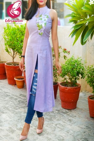 Lilac Pure Linen Embroidered A-Line Kurti