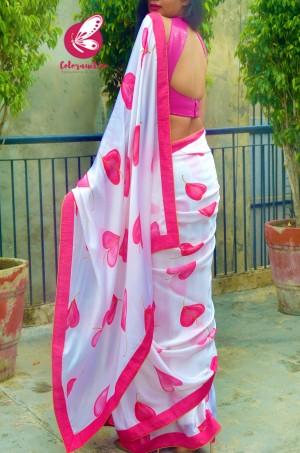 Pink & White Satin Georgette Printed Dupion Taping Piping Saree