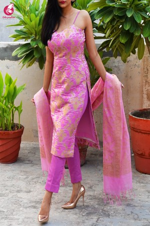 Pink Golden Crushed Brocade Padded Strappy Kurti with Pink Cotton Silk Pants and Pink Golden Chanderi Dupatta