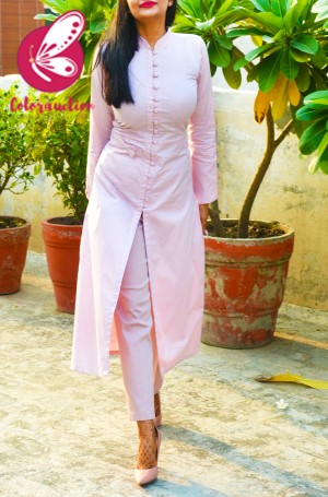 Baby Pink Printed Cotton Silk Kurti with Pink Strechable Pants Kurti Set