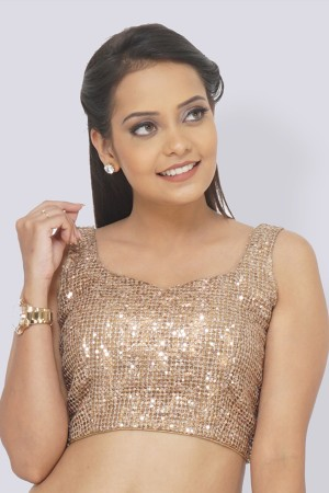 Golden Zari Sequins Padded Blouse