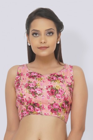 Printed Pink Tussar Silk Padded Blouse