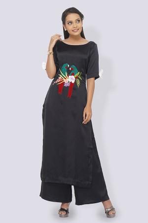 Black Crepe Embroidered Straight Kurti Set