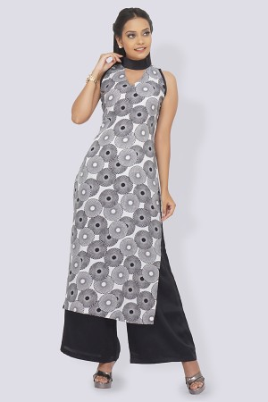 White Crepe Printed Straight Kurti
