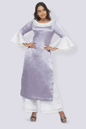 Light Purple Satin Straight Kurti Set