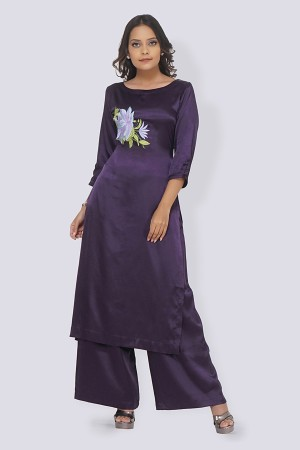 Purple Satin Embroidered Straight Kurti Set