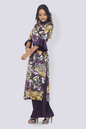 Purple Printed Satin Straight Kurti Set