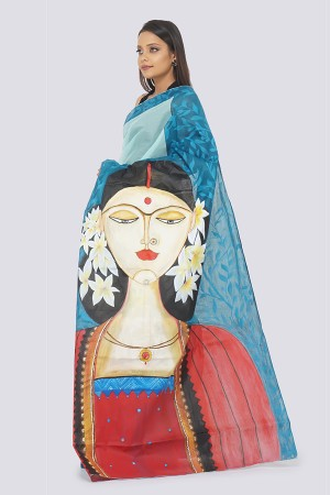 Sky Blue Organdy Handpainted Saree
