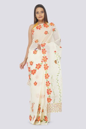 Light Beige Organdy Handpainted  Saree