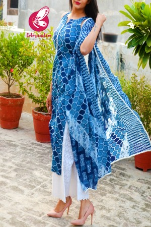 Indigo Blue Cambric Cotton Kurti with White Cotton Full Lining Chikankari Palazzo and Indigo Blue Pure Cotton Dupatta Kurti Set