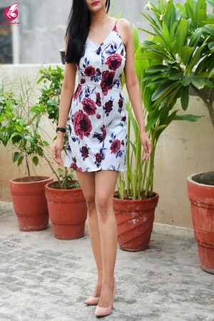 Powder Blue Printed Crepe Floral Short Dress