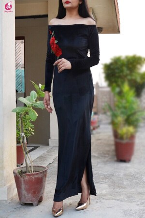 Black Padded Velvet Maxi Cocktail Dress
