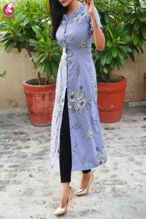 Blue Crepe Stripes Front Slit Kurti