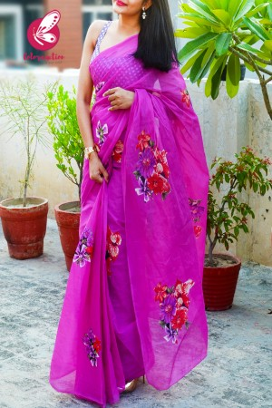 Fushia Pink Organdy Applique Floral Saree