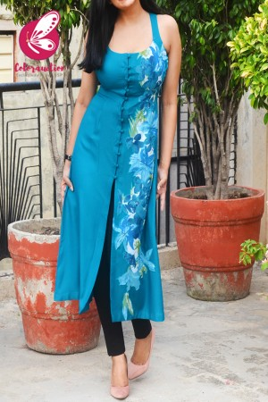 Sky Blue Modal Rayon Sleeveless Patch Work Kurti