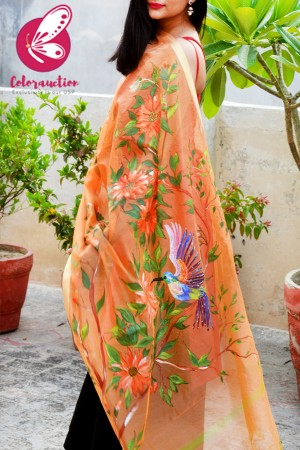 Orange Pure Organza Sunflower Hand painted Stole