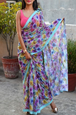 Multicolour Floral Chandelier Net Dupion Silk Taping Saree