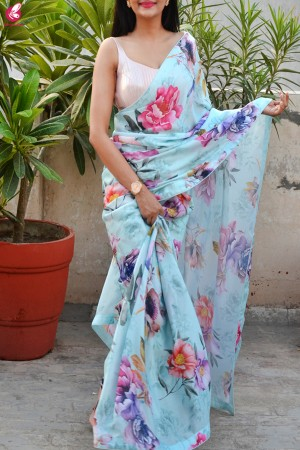 Multicolored Digital Print Satin Georgette Saree