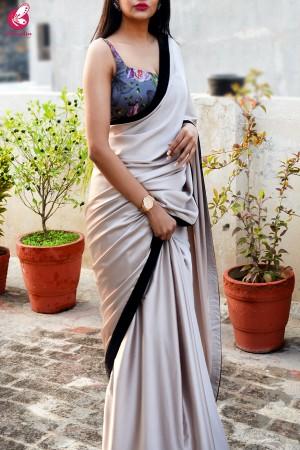 Pink Fawn Black Velvet Taping Satin Saree