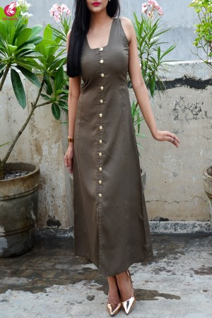Olive Green Modal Rayon A-Line Kurti Dress