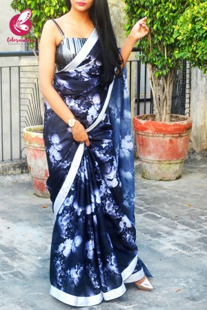 Black Printed Floral Satin Black Dupion Taping Saree