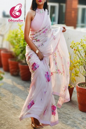 Baby Pink Hand-painted Pure Silk Chiffon Saree