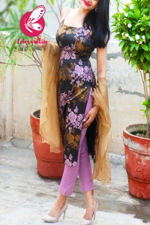 Mauve & Golden Brocade Silk Padded Strappy Kurti with Mauve Cotton Silk Pants and Golden Triple Layer Ruffle Stole