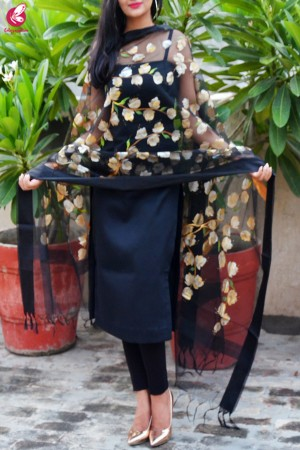 Black Organza Handpainted Floral Stole