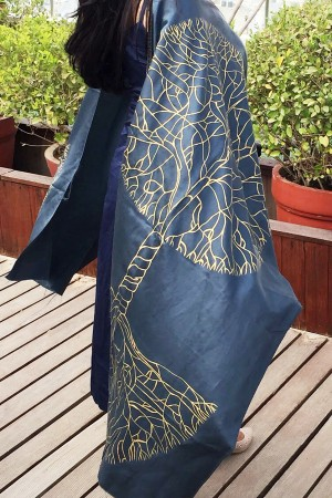 Grey Silk Golden Hand-painted Stole