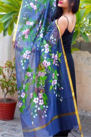 Bluish Grey Organza Hand-painted Floral Stole