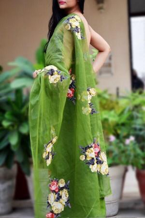 Olive Green Organdy Applique Floral Saree