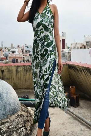Green Cotton Printed Straight Kurti