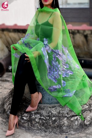 Green Organza Hand painted Floral Stole