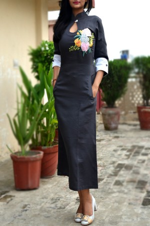 Dark Grey Sarton Lycra Embroidered A-Line Kurti