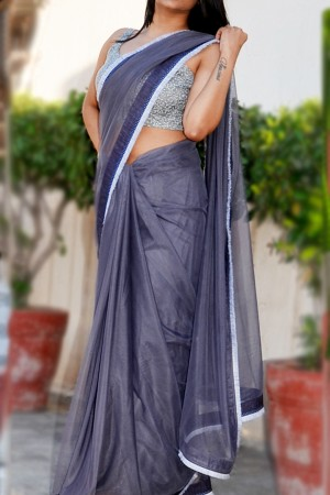 Grey Net Tassel Lace Border Saree
