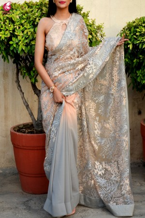 Grey Double Shaded Korean Net Saree