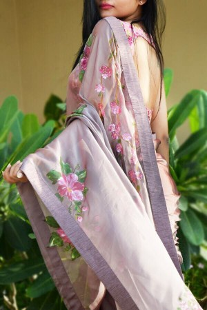 Mauve Hand Painted Pure Silk Chiffon Saree