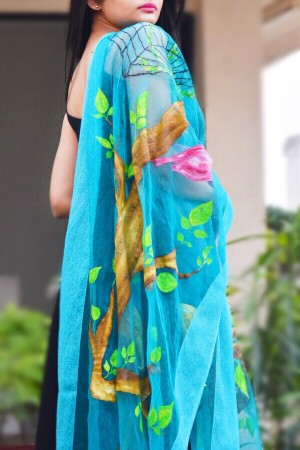 Sky Blue Organza Handpainted Floral Stole